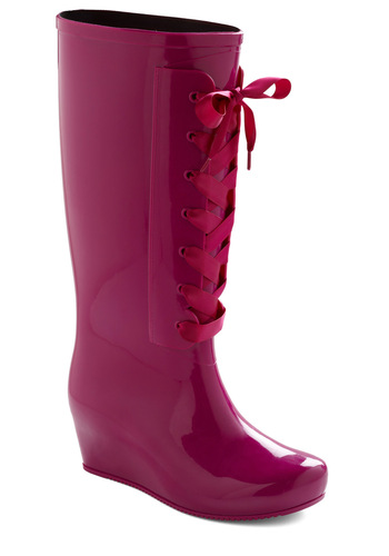 Lace the Rain Boot - Purple, Solid, Casual, Pink