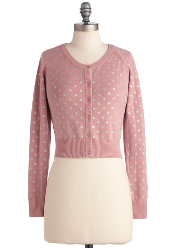 Classic Remixed Cardigan in Pink - Pink, Silver, Polka Dots, Buttons, Long Sleeve, Casual, Short, Rockabilly, Pastel, Cotton, Button Down, Minimal, V Neck