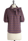 Cool Ranch Top in Cocoa - Mid-length, Purple, Brown, Print, Bows, Work, Short Sleeves