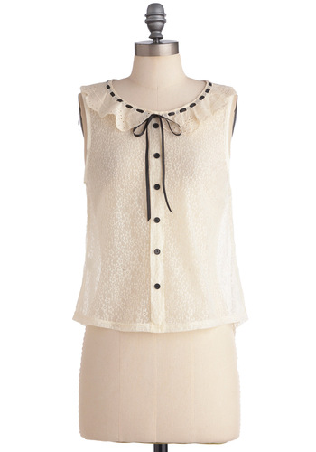 Parlor for the Course Top - Casual, Vintage Inspired, White, Black, Solid, Bows, Buttons, Sleeveless, Eyelet, Lace, Peter Pan Collar, Ruffles, 60s, Short