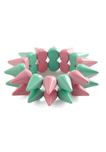 Spike Things Up Bracelet - Green, Pink