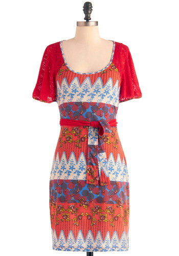 Collage Class Dress - Mid-length, Casual, Multi, Red, Orange, Yellow, Blue, Tan / Cream, Print, Crochet, Sheath / Shift, Short Sleeves