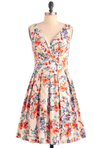 Floral Palate Dress in Fire Bouquet - Mid-length, Cream, Multi, Red, Orange, Green, Blue, Purple, Floral, Pleats, Casual, A-line, Sleeveless, Spring, Cocktail, Cotton