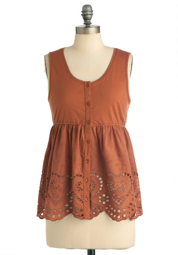 Fire in Your Style Top - Mid-length, Brown, Solid, Empire, Casual, Boho, Buttons, Eyelet, Scallops, Sleeveless, Summer