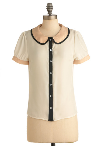 Panel Presentation Top in Short Sleeves - Mid-length, Work, Vintage Inspired, Black, Short Sleeves, White, Multi, Pink, Buttons, Peter Pan Collar, 60s