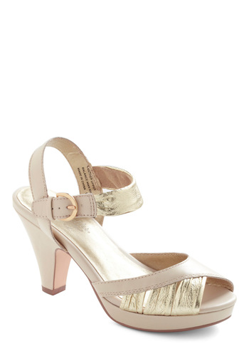 Coulda Danced All Night Heel in Ivory by Seychelles - Formal, Luxe, Cream, Gold, Buckles, Solid, Prom, Wedding