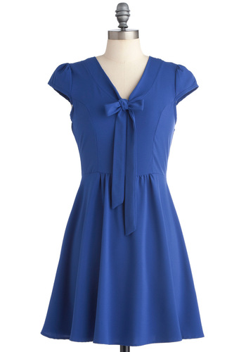 Because of Blue Dress - Mid-length, Blue, Solid, Bows, A-line, Cap Sleeves, Casual, Tie Neck