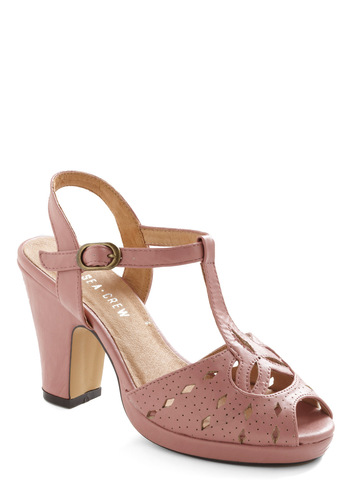 Santa Cruz Beach Heel in Pink by Chelsea Crew - Vintage Inspired, Pink, Solid, Buckles, Cutout, Party