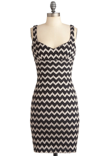 Moves Like Zig-Zagger Dress - Mid-length, White, Stripes, Sheath / Shift, Tank top (2 thick straps), Black, Party