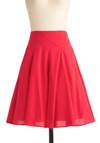Viva Italian Ice Skirt - Mid-length, Rockabilly, 50s, Red, Solid, A-line, Casual, Vintage Inspired