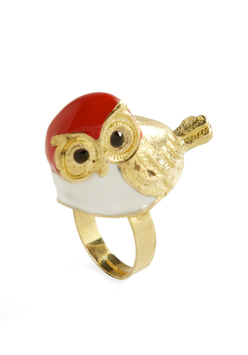 Perch and Foremost Ring - Casual, Owls, Multi, Gold, Red, Black, White, Statement