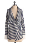 Asymmetry Climbing Cardigan - Casual, Nautical, Blue, White, Stripes, Long Sleeve, Buttons, Mid-length