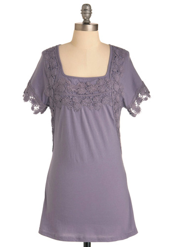 Plum Pretty Tunic - Purple, Solid, Crochet, Short Sleeves, Casual, Ruffles, Long