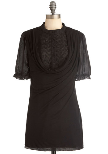 Night Settles Sweetly Tunic - Long, Black, Solid, Short Sleeves, Eyelet