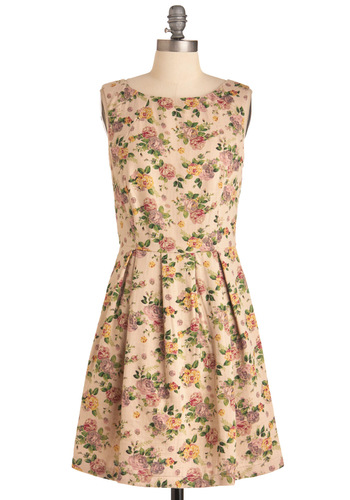 Cottage Rose Dress - Mid-length, Work, Vintage Inspired, 60s, Multi, Yellow, Green, Pink, Tan / Cream, Floral, Herringbone, Party, Sleeveless, Spring