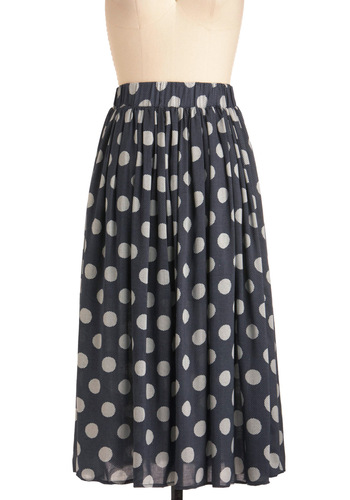 Fit to Newsprint Skirt - Long, Casual, Vintage Inspired, White, Polka Dots, Blue, 60s
