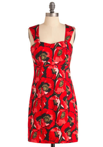 Poppy Chart Hit Dress - Short, Red, Tan / Cream, Black, Floral, Casual, Mini, Shift, Tank top (2 thick straps), Sweetheart, Cotton, Summer