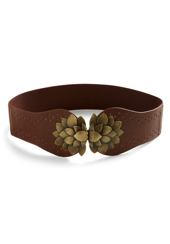 Flora All Time Belt - Brown, Gold, Cutout, Flower, Solid, Casual, Faux Leather, Rustic