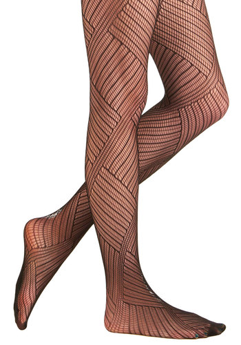 Sliding Puzzle Tights - Black, Knitted