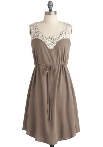 Summer Snowdrops Dress - Mid-length, Casual, Tan, White, Solid, Crochet, Sheath / Shift, Racerback, Summer, Holiday Sale