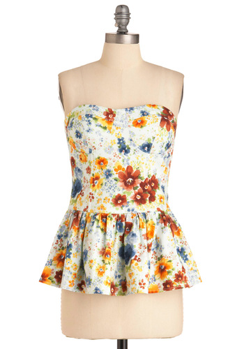 Tra La La Bustier Top - Party, Multi, Floral, Strapless, Orange, Yellow, Green, Blue, Exposed zipper, Summer, White, Long