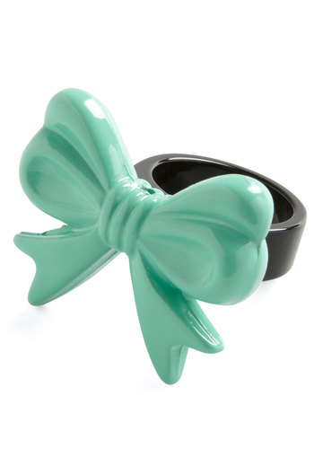 Unforgettably Fashionable Ring - Green, Black, Bows, Solid