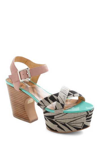 Perfect Pair-adise Heel - Statement, Multi, Green, Pink, Brown, Black, Grey, Print, Party