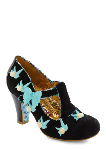Dove Actually Heel by Irregular Choice - Black, Blue, Tan / Cream, Bows, Flower, Trim, Wedding, Party