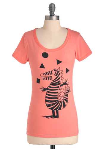 Croc a Smile Top - Casual, Kawaii, Pink, Black, Print, Short Sleeves, Mid-length