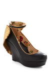 Angelic Houston Wedge by Miss L Fire - Statement, Black, Gold, Party, Wedge