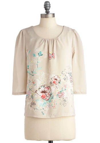 Begonia and Back Again Top by Darling - Mid-length, Cream, Multi, Floral, 3/4 Sleeve, Vintage Inspired, Spring