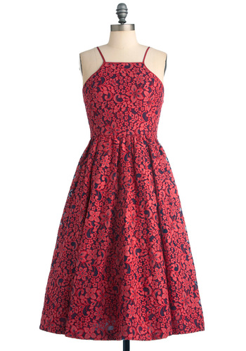 Tracy Reese Feelin' Ruby Dress by Tracy Reese - Vintage Inspired, Pink, Blue, Floral, Lace, Wedding, 60s, A-line, Spaghetti Straps, Long, Press Placement, Fit & Flare, Special Occasion, Bridesmaid