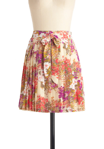 Horticultural District Skirt by Darling - Short, Multi, Floral, Pleats, Yellow, Purple, Pink, Brown, Tan / Cream, Spring
