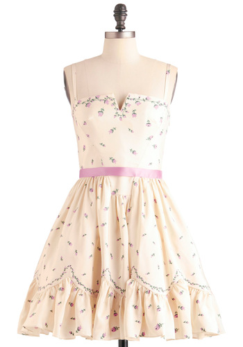 Betsey Johnson It's a Toss-Up Dress by Betsey Johnson - Short, Cream, Pink, Floral, A-line, Spaghetti Straps, Party, Fairytale, Multi, Green, Ruffles, Scallops, Woven, Wedding, Mini