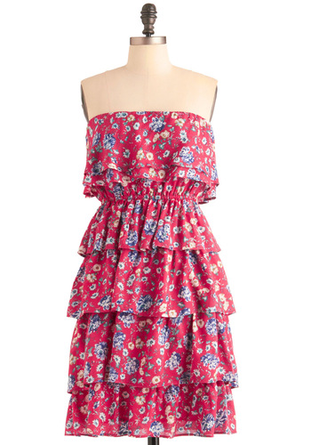 Near and Tier Dress - Casual, Red, Floral, Tiered, Strapless, Multi, Green, Blue, White, Ruffles, Mini, Sheath / Shift, Summer, Mid-length