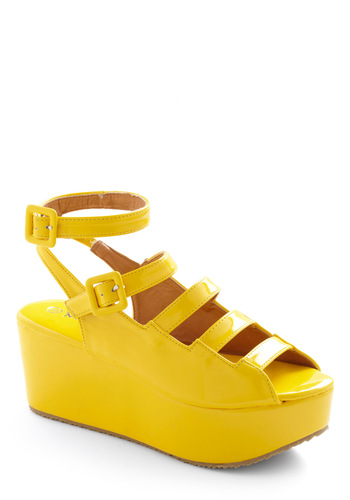 Platform Follows Function Wedge - Yellow, Solid, Buckles, Party, Spring, Pinup, Wedge