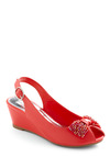 Subject to Change Wedge - Red, Solid, Beads, Bows, Buckles, Wedge, Spring, Mid