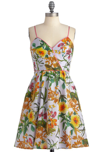 Aviary Occasion Dress by Corey Lynn Calter - Mid-length, Party, Multi, Floral, Spaghetti Straps, Orange, Yellow, Green, Pink, A-line, Summer, Fit & Flare