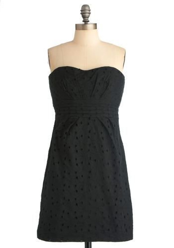 Only Have Eyelet for You Dress by BB Dakota - Party, Black, Solid, Eyelet, Pockets, Sheath / Shift, Strapless, Mid-length