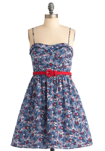 Love at First Twilight Dress - Blue, Floral, A-line, Spaghetti Straps, Party, Red, White, Ruffles, Short, Fit & Flare, Belted, Cotton