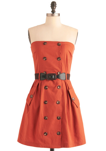 First Classy Dress - Casual, Safari, Orange, Brown, Solid, Buttons, Pockets, A-line, Strapless, Mid-length, Belted