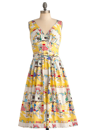 Bygone Days Dress in Bake Off - Print, Pleats, A-line, Sleeveless, Multi, Yellow, Vintage Inspired, 50s, Long, Belted, Cocktail, Cotton, Fit & Flare, V Neck