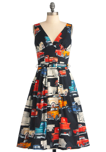 Bygone Days Dress in Cross Country - Long, A-line, Sleeveless, Vintage Inspired, 50s, Multi, Red, Orange, Green, Blue, Black, Print