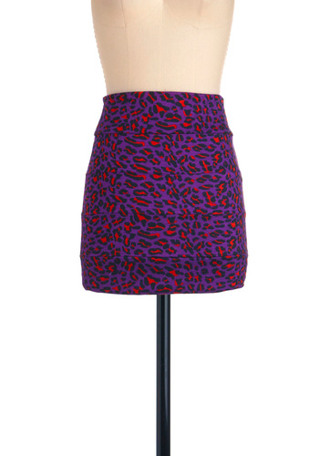 Beyond Blending In Skirt - Purple, Red, Black, Animal Print, Multi, Party, Mini, Short