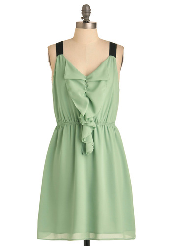 Pistachio Gelato Dress - Mid-length, Green, Black, Solid, Ruffles, Party, Shift, Tank top (2 thick straps)