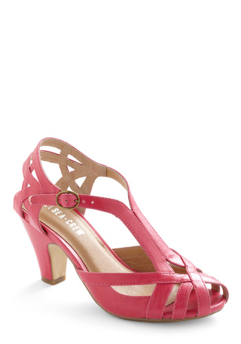 Banker Lamp Heel in Pink by Chelsea Crew - Pink, Solid, Buckles, Work, Pastel, Cocktail, Peep Toe, Mid, Strappy, Better, T-Strap