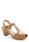 Baguette What You Give Heel by Chelsea Crew - Tan, Solid, Buckles, Cutout, Peep Toe, Mid, Chunky heel, Casual, Better, T-Strap