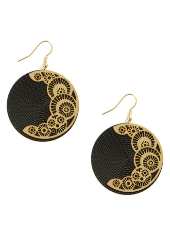 Waxing Crescent Earrings - Black, Gold, Formal, Casual, Best Seller, Gold