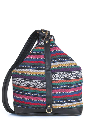Rain-Boho Bright Backpack - Multi, Black, Stripes, Casual, Boho, Exposed zipper