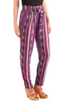 Bolder Colorado Pants - Casual, Folk Art, Multi, Stripes, Long, Purple, Pink, Black, White
